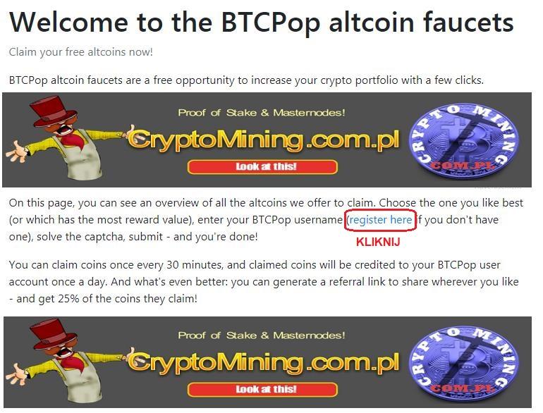 BTCPOP faucet kranik crypto PoS instrukcja opis opinia 1a