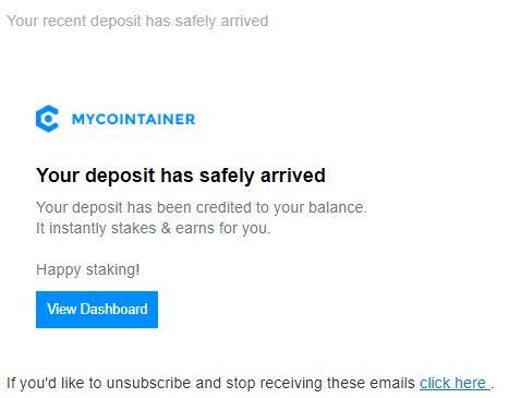 MyCointainer takie potwierdzenie dostaniesz na maila o depozycie
