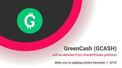 GreenCash zostanie usunięty z StackOfStake