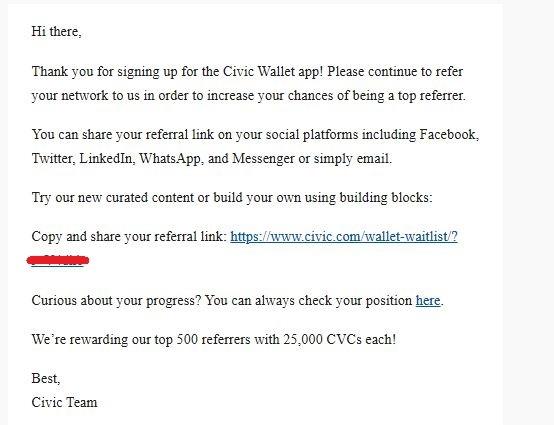 Civic Wallet potwierdzenie rejestracji na maila