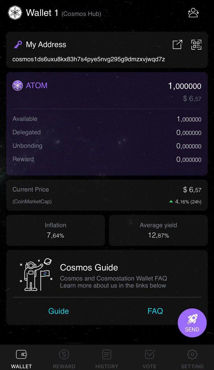 Korzystanie z mobilnego portfela Cosmostation z Gentarium 5