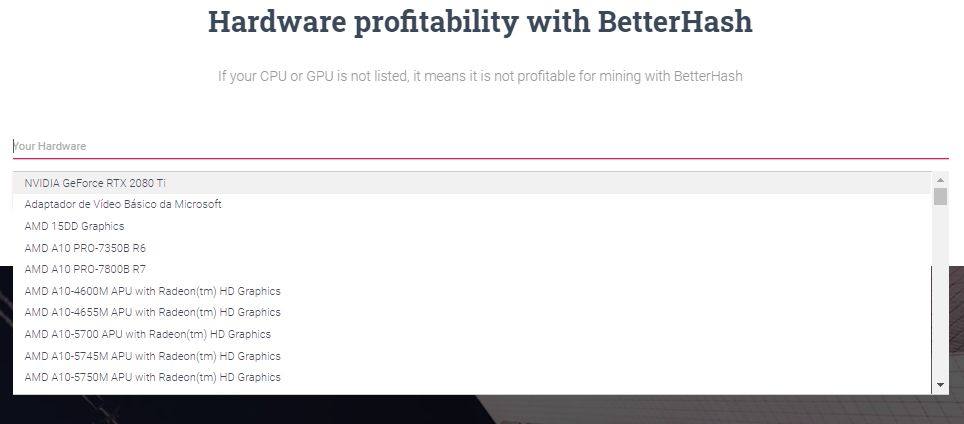 BetterHash lista obsługiwanych GPU i CPU