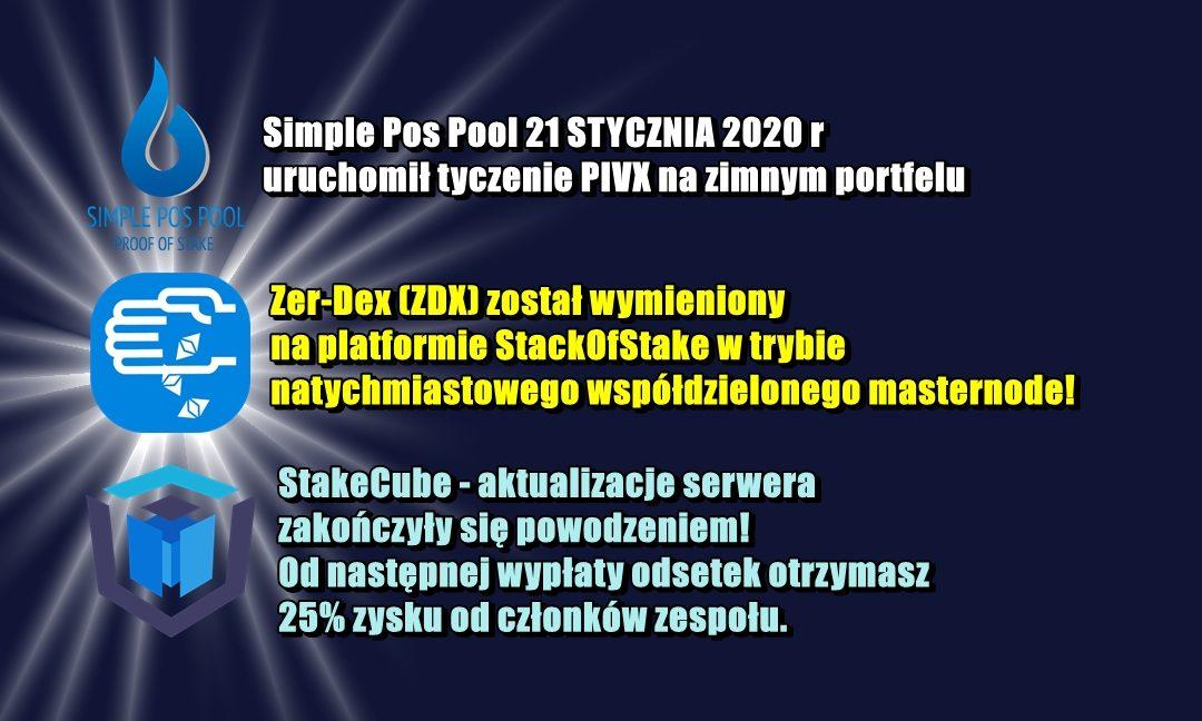 NEWS z puli wydobywczych: Simple Pos Pool, StackofStake, StakeCube