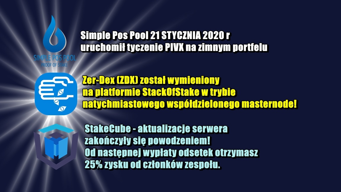 NEWS z puli wydobywczych: Simple Pos Pool, StackofStake, StakeCube