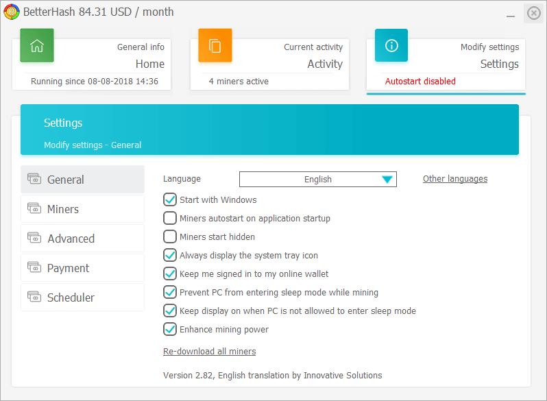 Portfele, płatności i uruchomienie BetterHash