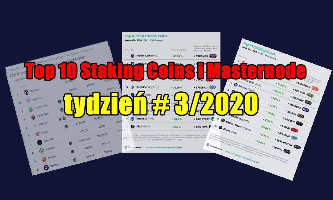 Top 10 Staking Coins i Masternode - tydzień # 3/2020