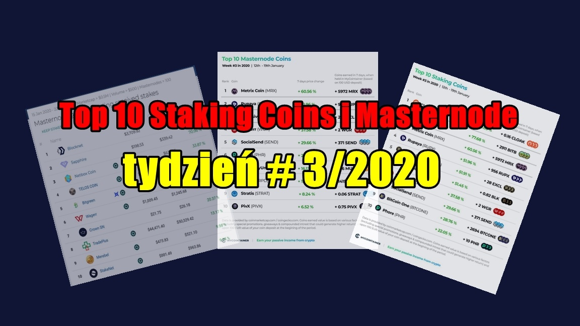 Top 10 Staking Coins i Masternode – tydzień # 3/2020