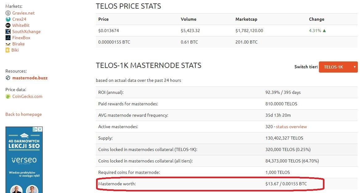 masternode TELOS COIN (TELOS-1K)