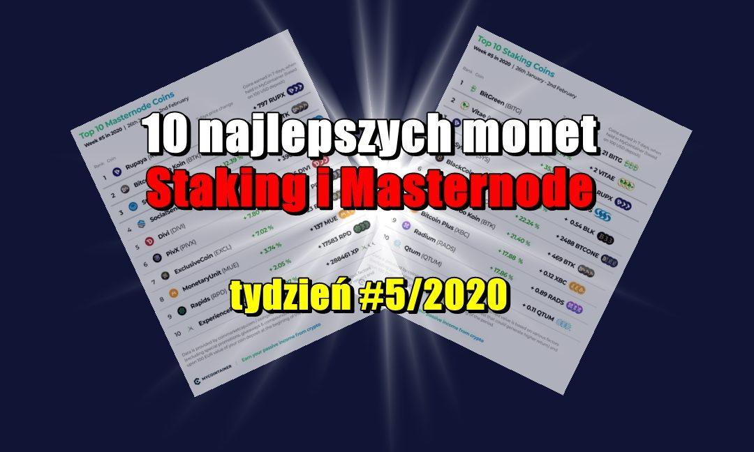 10 najlepszych monet Staking i Masternode - tydzień #5/2020