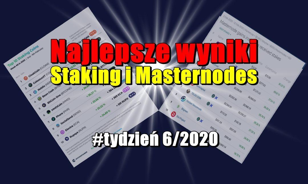 Najlepsze wyniki staking i Masternodes #tydzień 6/2020