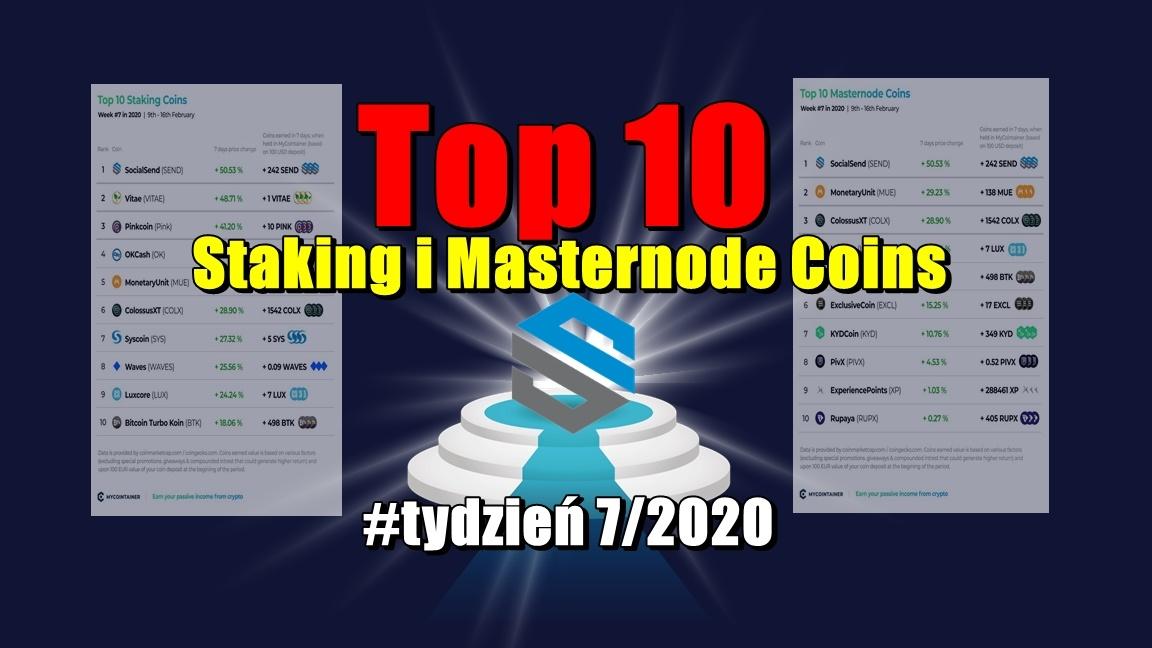 Top 10 Staking i Masternode Coins – #tydzień 7/2020