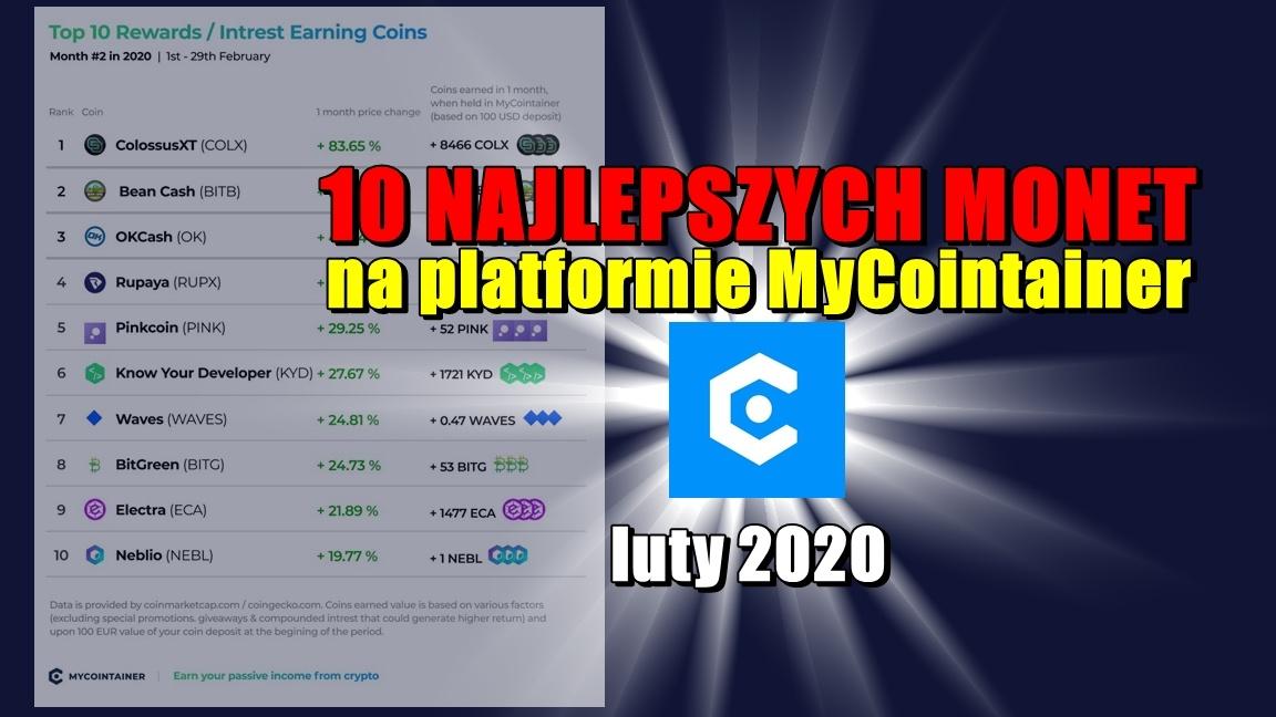10 najlepszych monet na platformie MyCointainer – luty 2020