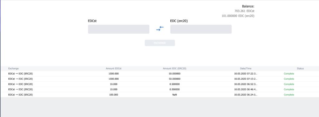 Jak wymieniać monety EDC na nowe tokeny ERC20 3