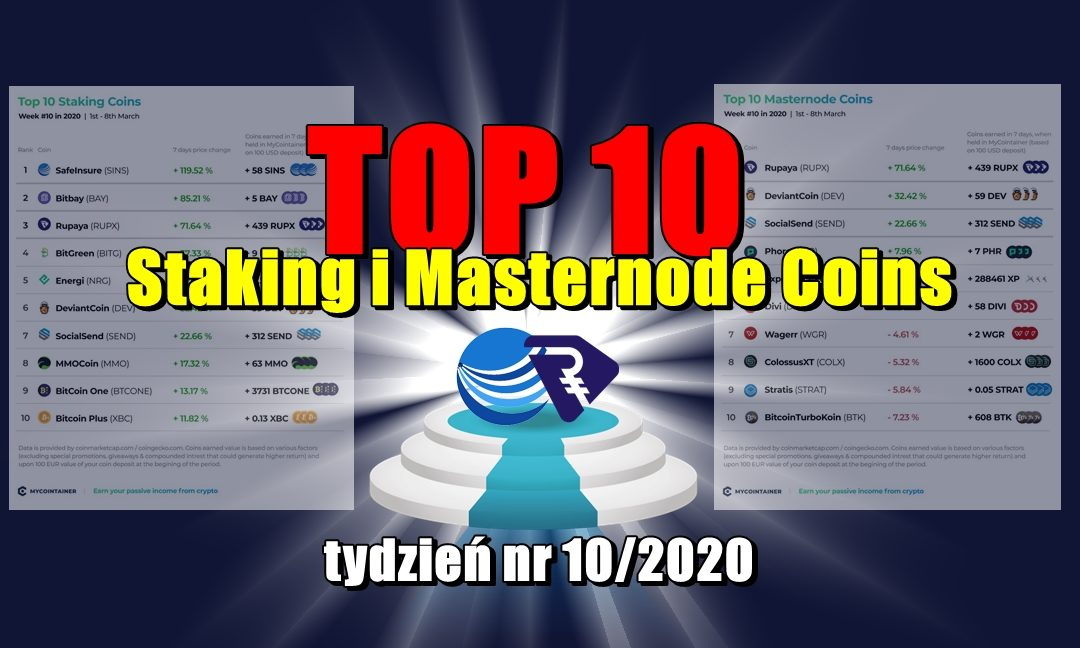 Top 10 Staking i Masternode Coins - tydzień nr 10/2020