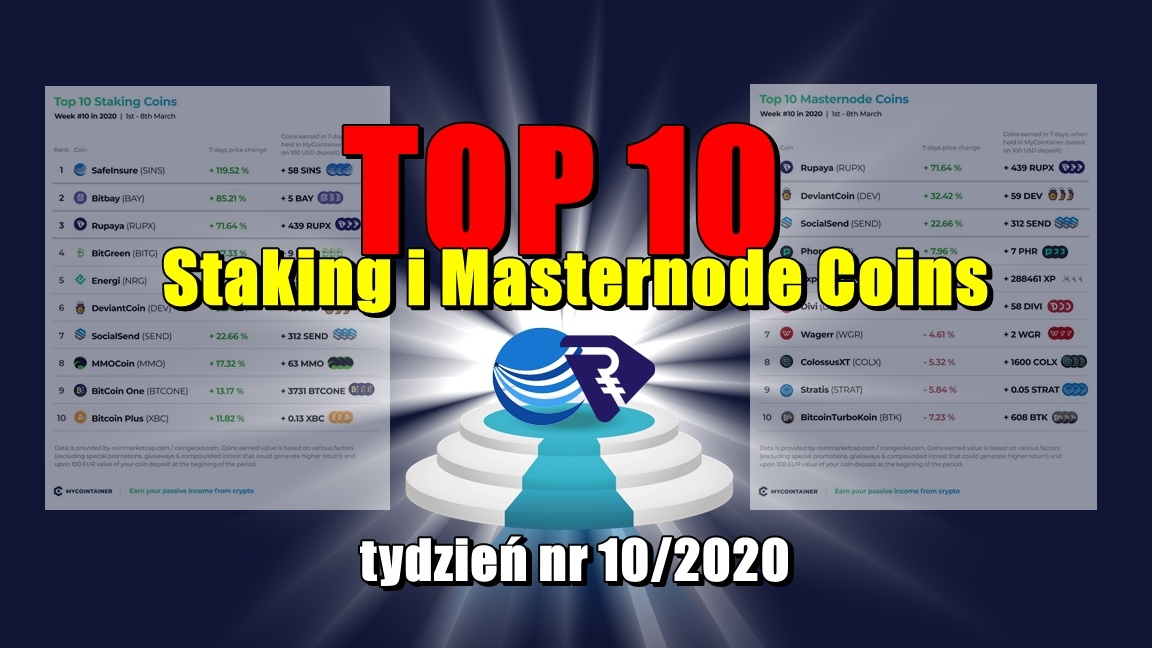 Top 10 Staking i Masternode Coins – tydzień nr 10/2020