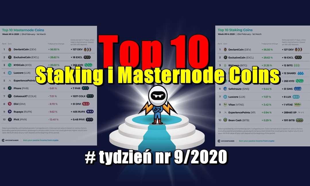 Top 10 Staking i Masternode Coins - tydzień nr 9/2020