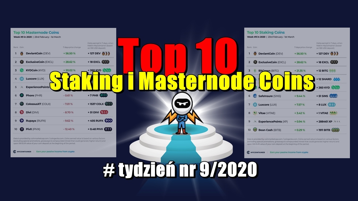 Top 10 Staking i Masternode Coins – tydzień nr 9/2020