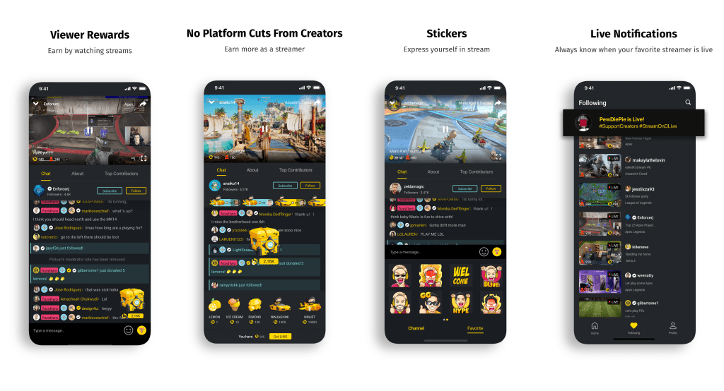DLive iOS application_feature highlights