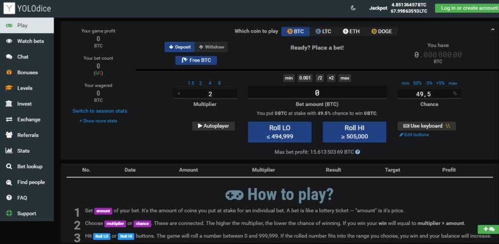 Jak grać i inwestować w kasynie YOLODice Kranik Bitcoin 2