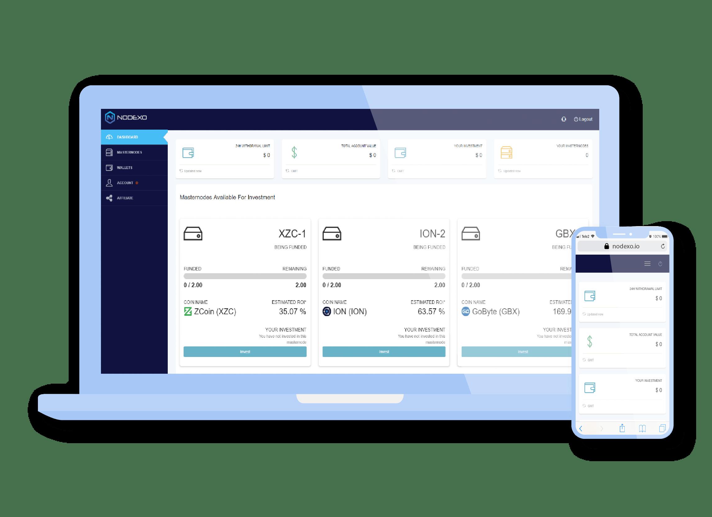 NODEXO platform mobile