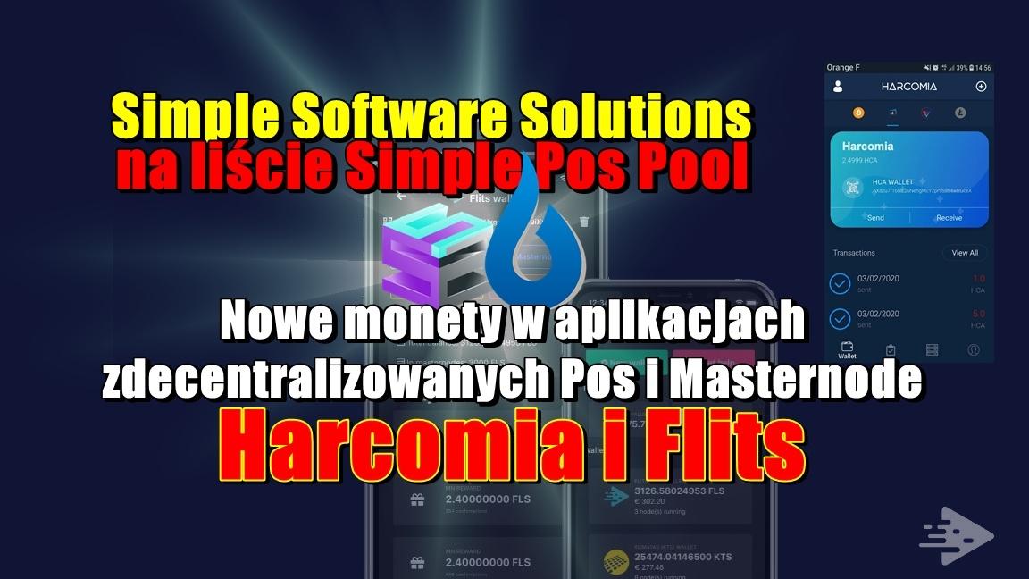 Simple Software Solutions na liście Simple Pos Pool. Nowe monety na aplikacjach zdecentralizowanych PoS i Masternode, Harcomia i Flits