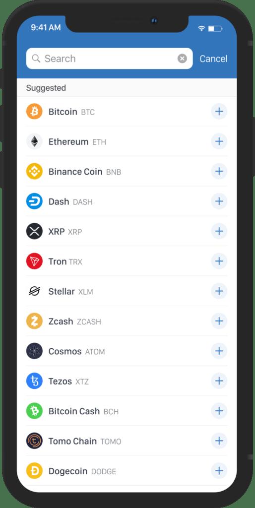 assets list Trust Wallet