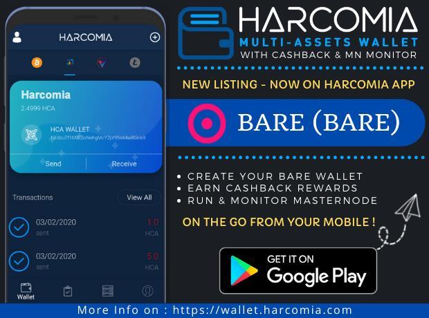 BARE (BARE) właśnie pojawiła się w aplikacji mobilnej Harcomia Multi-Assets Wallet