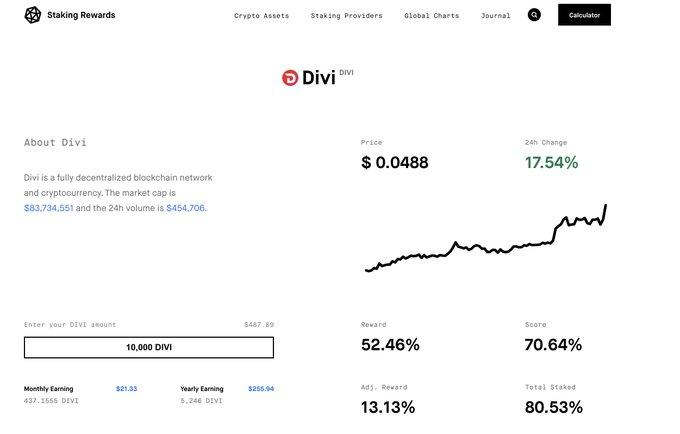 DIVI Obecne szacowane roczne stopy zwrotu wynoszą do 38% w przypadku tyczenia i do 50% w przypadku uruchomienia masternode