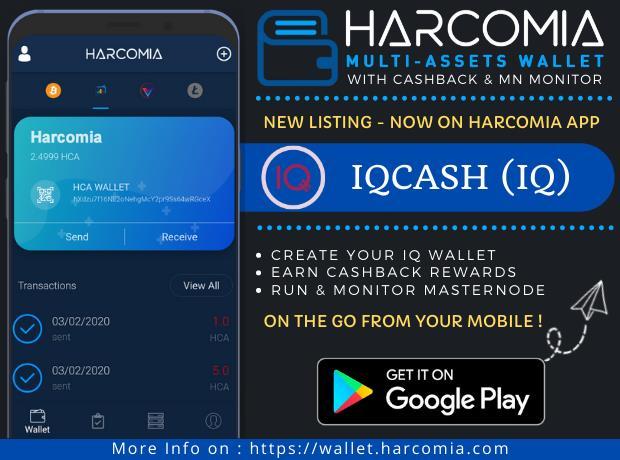 IQcash (IQ) HARCOMIA