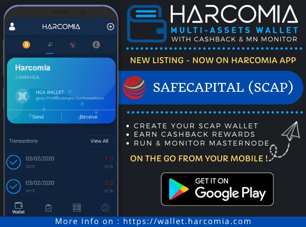Safecapital (SCAP) właśnie został wymieniony w aplikacji mobilnej Harcomia
