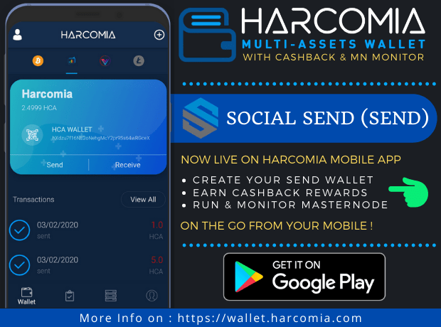 Social Send (SEND) właśnie znalazł się na liście w aplikacji mobilnej Harcomia