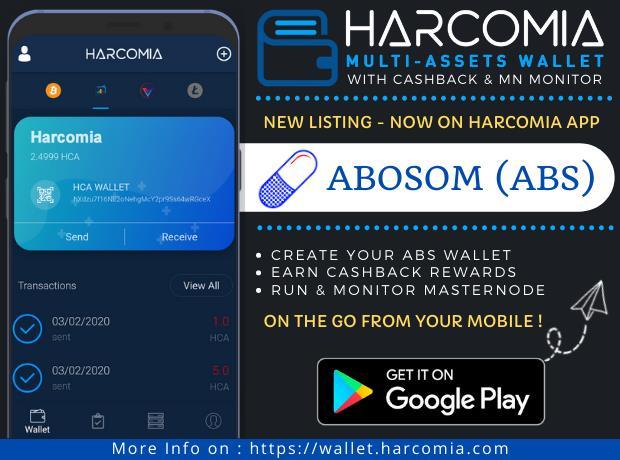 Nowa moneta wymieniona w aplikacji mobilnej Harcomia Wallet - Abosom (ABS)