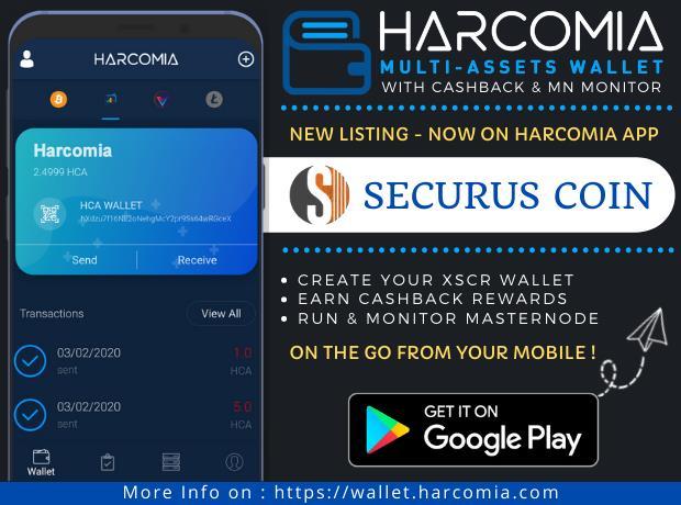 Nowa moneta wymieniona w aplikacji mobilnej Harcomia Wallet - Securus (XSCR)