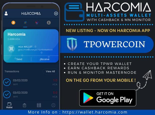 Nowa moneta wymieniona w aplikacji mobilnej Harcomia Wallet - ThePowerCoin (TPWR)