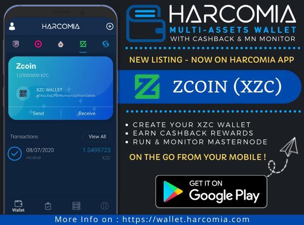 Nowa moneta wymieniona w aplikacji mobilnej Harcomia Wallet - ZCOIN (XZC)