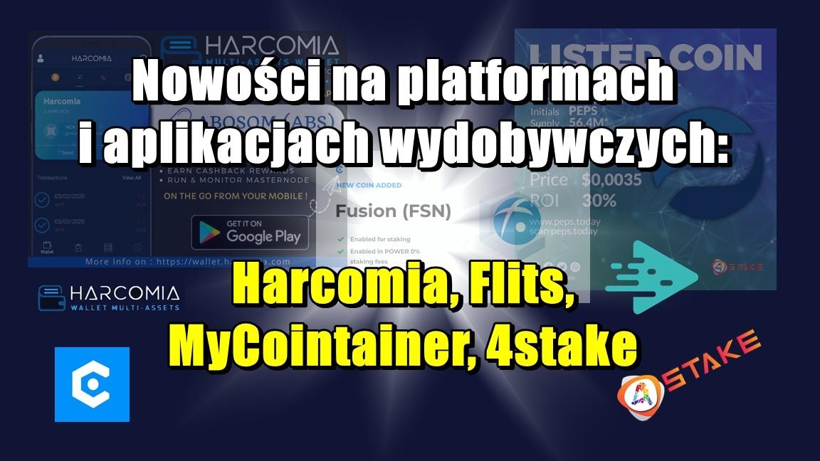 Nowości na platformach i aplikacjach wydobywczych: Harcomia, Flits, MyCointainer, 4stake