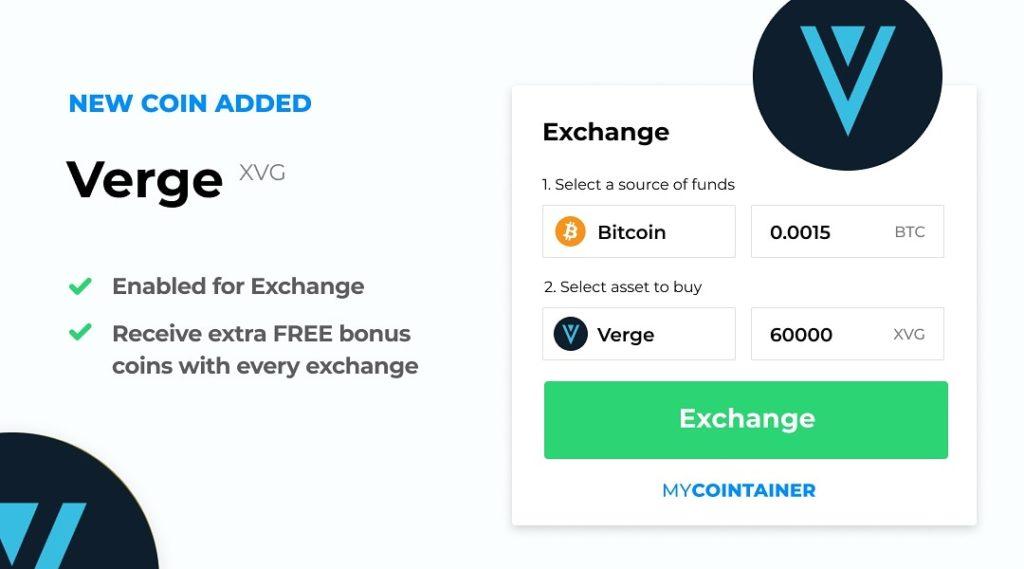 Ogłaszamy integrację Vergecurrency na MyCointainer Exchange