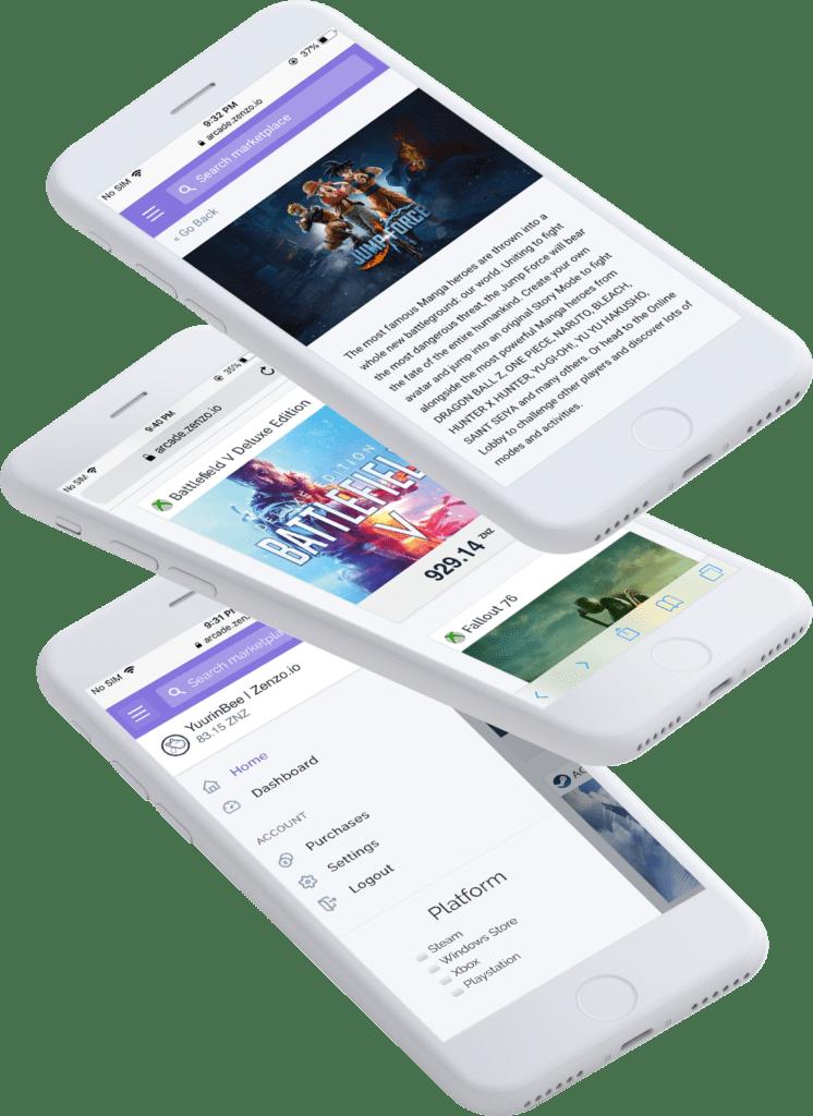 ZENZO-Arcade-App-Mockup