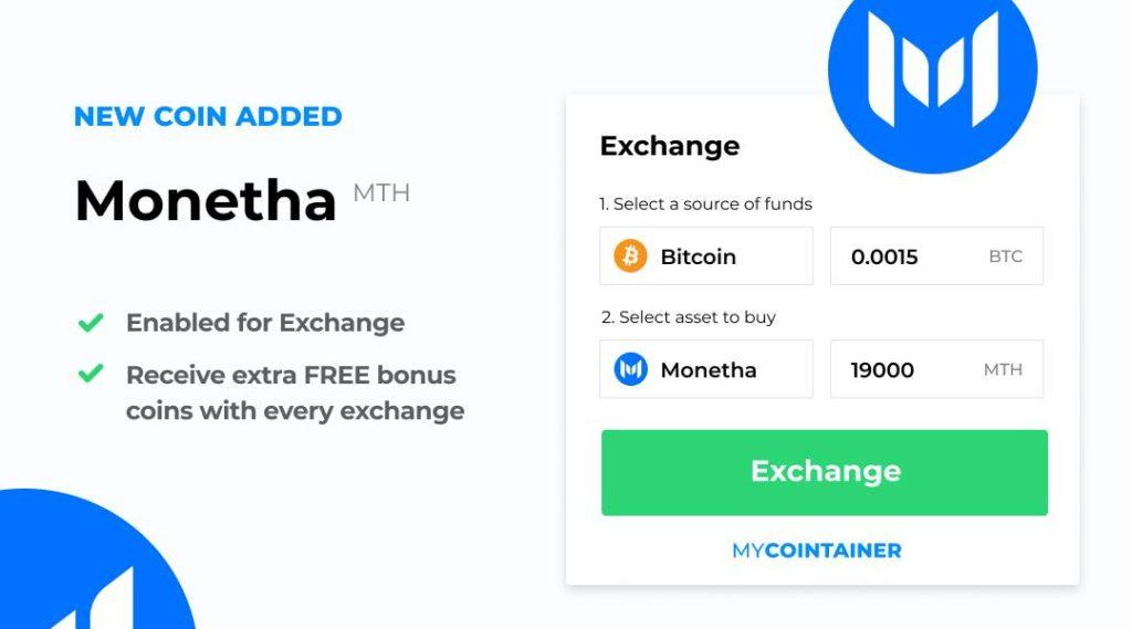 Monetha jest teraz dostępna na MyCointainer Exchange