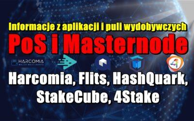 Informacje z aplikacji i puli wydobywczych PoS i Masternode: Harcomia, Flits, HashQuark, StakeCube, 4Stake