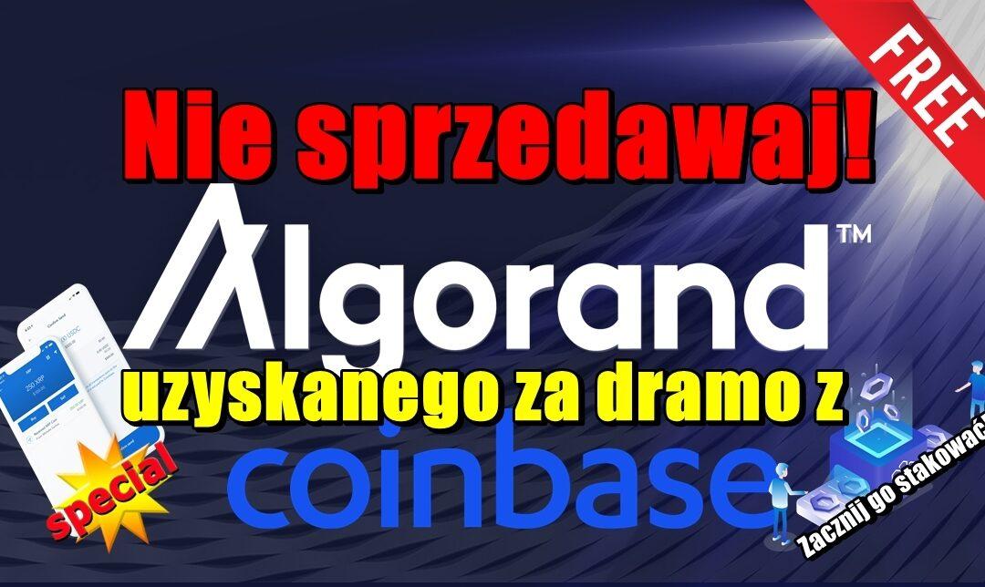 Nie sprzedawaj Algorand uzyskanego za dramo z Coinbase! Zacznij go stakować!