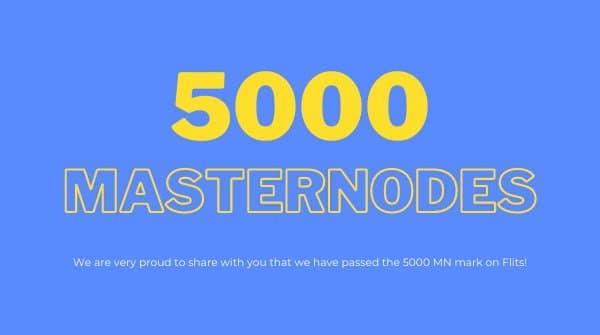 Kolejny kamień milowy - 5000 masternodów hostowanych w aplikacji Flits