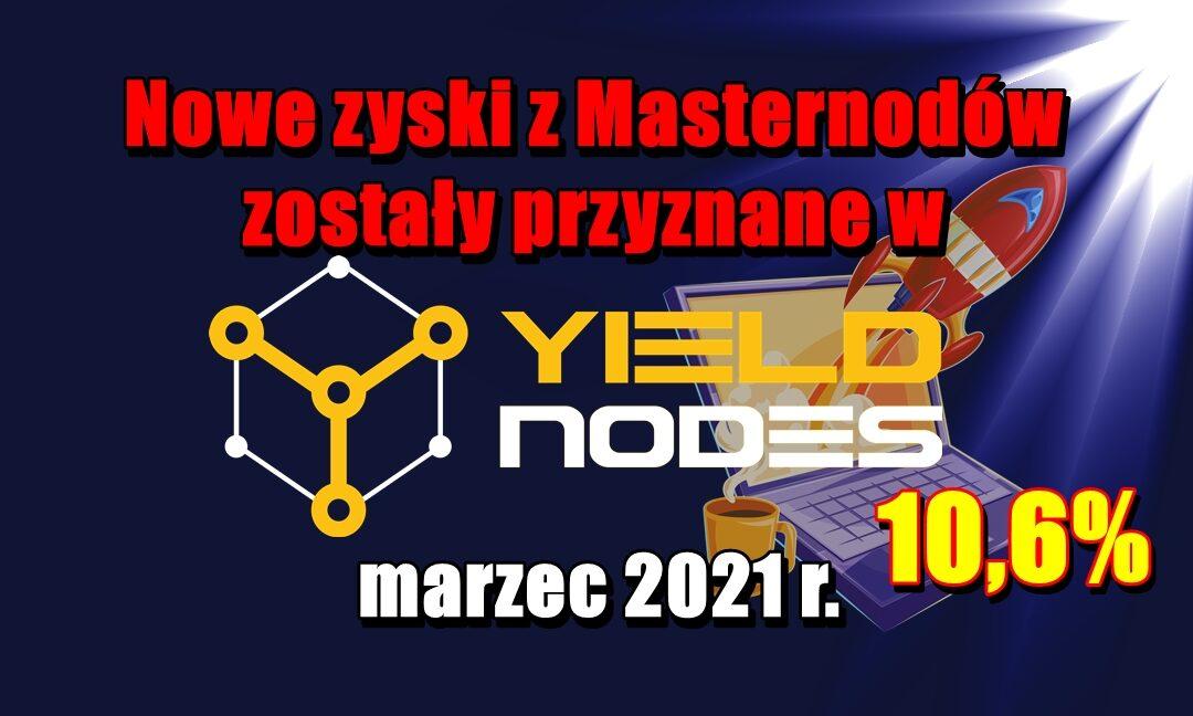 Nowe zyski z Masternodów zostały przyznane w Yieldnodes – marzec 2021 r.